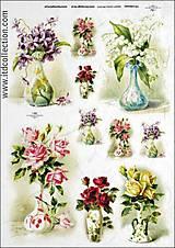 Papier - ryžový papier kvety vo vázach - 5863256_
