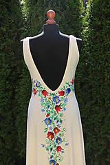 Šaty - Farebné folk vzory na dlhých smotanovo-béžových šatách... - 5862360_