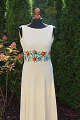 Šaty - Farebné folk vzory na dlhých smotanovo-béžových šatách... - 5862363_