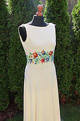 Šaty - Farebné folk vzory na dlhých smotanovo-béžových šatách... - 5862365_