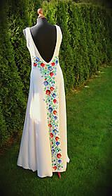 Šaty - Farebné folk vzory na dlhých smotanovo-béžových šatách... - 5862528_