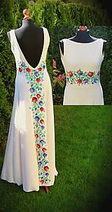 Šaty - Farebné folk vzory na dlhých smotanovo-béžových šatách... - 5863880_