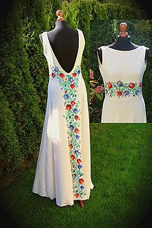 Šaty - Farebné folk vzory na dlhých smotanovo-béžových šatách... - 5863181_