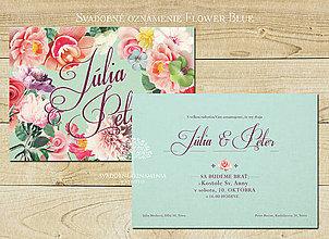 Papiernictvo - Svadobné oznámenie Flower Blue - 5862738_