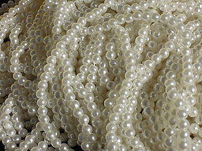 Korálky - Perličky - korálky guľaté biele 8mm - 5861525_