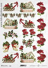 - ryžový papier vianočná ruža a sane - 5868168_