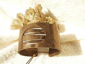 Náramky - Náramok kožený, tmavý bronz - 5866077_