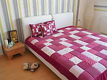 Úžitkový textil - velký patchwork prehoz 220x220cm bordovo červená - 5871133_