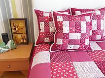 Úžitkový textil - patchwork vankúš 40x40cm bordovo červený - 5871167_