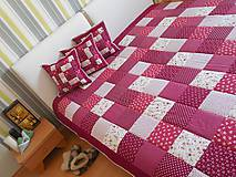 Úžitkový textil - patchwork vankúš 40x40cm bordovo červený - 5871169_