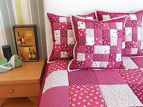 Úžitkový textil - Prehoz, vankúš patchwork vzor bordovo-červená, vankúš - 5871167_