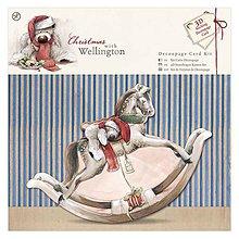 Papier - Sada na výrobu 3D pohľadnice Wellington Christmas - Hojdací koník - 5869625_