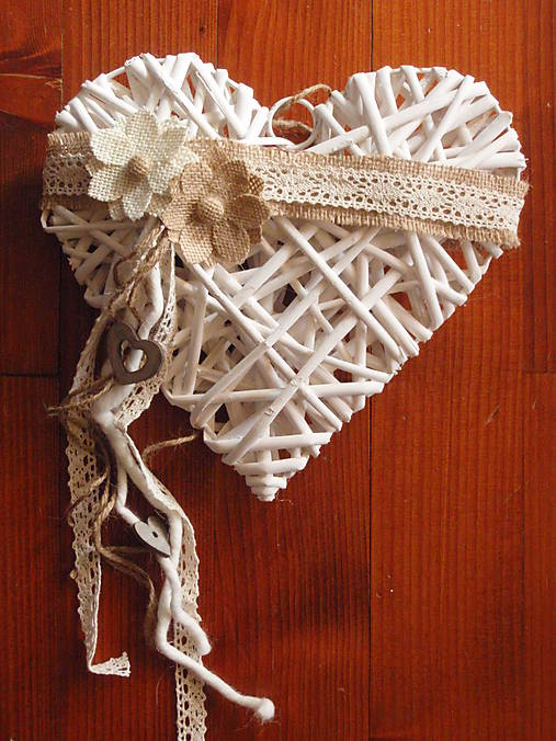 0d753eaaa Vintage srdce s jutovými kvetmi / erikak - SAShE.sk - Handmade Dekorácie