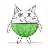 Kresby - Guľkáč - mačka - 5872372_