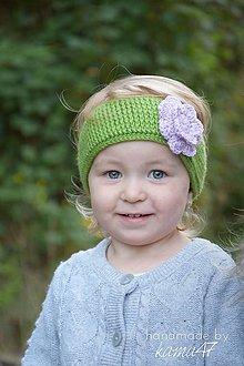 Detské čiapky - Čelenka na ušká ... fialka na trávičke - 5875435_