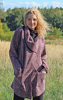 Kabáty - Vínovorůžový kardigan klasicky začištěný - 5876968_