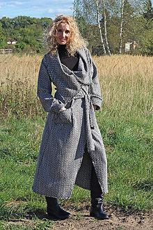 Kabáty - Černobílý dlouhý kardigan - 5877103_