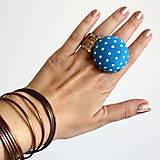 Mushroom button ring - oversize prsteň Tyrkysový bodkatý