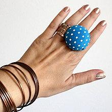 Prstene - Mushroom button ring - oversize prsteň Tyrkysový bodkatý - 5877914_
