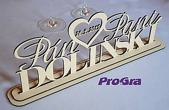 Tabuľky - Svadobný stojanček - Pán a Pani + Priezvisko - 5875418_