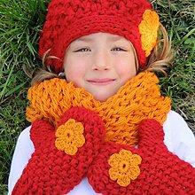 Detské čiapky - žiarivý setík pre slečny - 5881402_