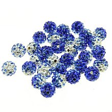 Korálky - Shamballa korálky melírované modré 10 mm - 5886371_