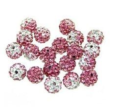 Korálky - Shamballa korálky melírované ružové 10 mm - 5886804_