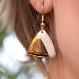 Náušnice - porcelánové náušnice ∣ zlato, pozlátený háčik - 5886062_