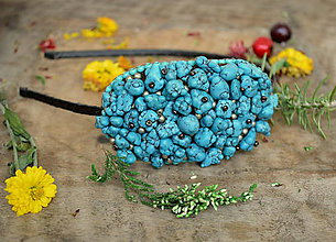 Ozdoby do vlasov - ...turquoise headband - 5884107_