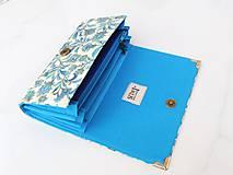 Peňaženky - Něžný tyrkys ve zlaté - peněženka 17 cm i na karty - 5885918_
