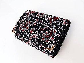 Peňaženky - Černý kašmír - peněženka i na karty 13 cm - 5885811_