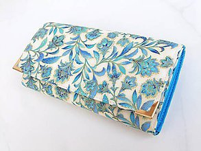 Peňaženky - Něžný tyrkys ve zlaté - peněženka 17 cm i na karty - 5885924_