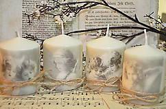 Svietidlá a sviečky - Kvarteto vintage sviečok - 5889378_