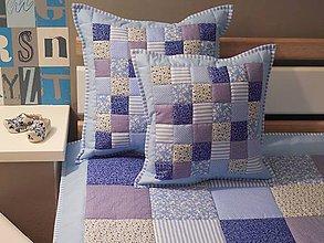 Úžitkový textil - Prehoz, vankúš patchwork vzor modrá, vankúš - 5890769_
