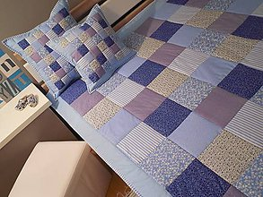 Úžitkový textil - prehoz patchwork deka 140x200cm modra - 5890822_