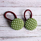 Ozdoby do vlasov - Gumičky do vlasov s buttonkami Zelené bodkaté - 5889358_