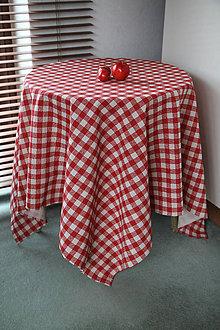 """Úžitkový textil - obrus """"červené štvorčeky"""" - 5888307_"""