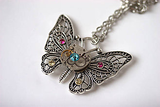 Náhrdelníky - Steampunkový náhrdelník Motýlik - 5887452_