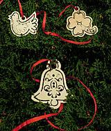 Vianočné ozdoby - Holubica, zvonček, štvorlístok (T12)