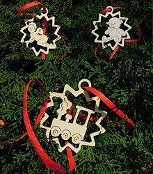 Dekorácie - Vianočné ozdoby - Anjelik, macko, vláčik (X9) - 5890358_