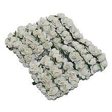 Papier - Papierová ruža - biela, 10 ks, ihneď - 5889080_
