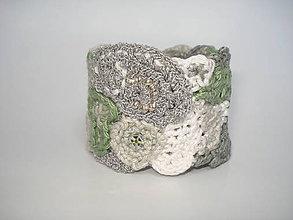 Náramky - FreeFORM crochet náramok machová sivá - 5892892_