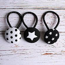 Detské doplnky - DETSKÉ gumičky do vlasov s buttonkami Čierna Biela - 5893977_