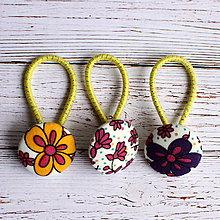 Detské doplnky - DETSKÉ gumičky do vlasov s buttonkami Kvetinkové - 5894002_