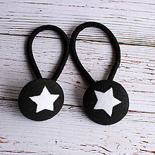 Detské doplnky - DETSKÉ Gumičky do vlasov s buttonkami Čierna s hviezdičkami - 5894050_