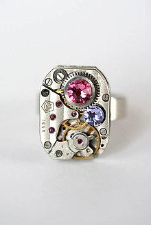 Prstene - Steampunkový prsteň a Swarovski - 5892000_