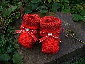 Topánočky - Červené jabĺčko, bábo - papučky. - 5894626_