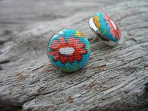 Náušnice - Náušnice Buttonky Retro kytičky červené - 5896928_