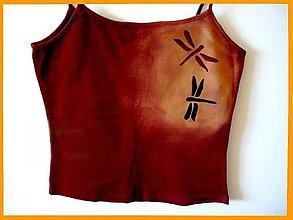 Tielka - Čokoládové tílko M s vážkami - 5895955_