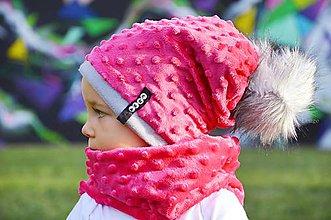 Detské čiapky - zimná súprava s menom a odopínacím brmbolcom cyklamen ...alebo farbu si vyber! - 5902058_